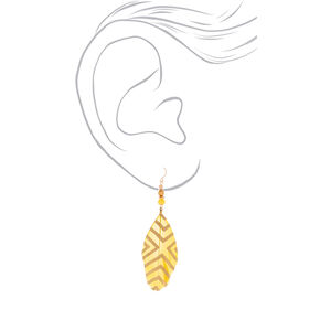 "4"" Feather Drop Earrings - Yellow,"