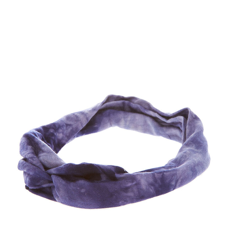 Dark Blue Tie Dye Knotted Headwrap,