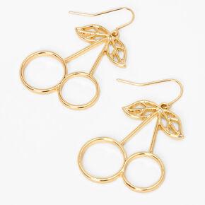 """Gold 2"""" Cherry Drop Earrings,"""
