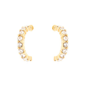 18kt Gold Plated Glass Stone Half Hoop Earrings,