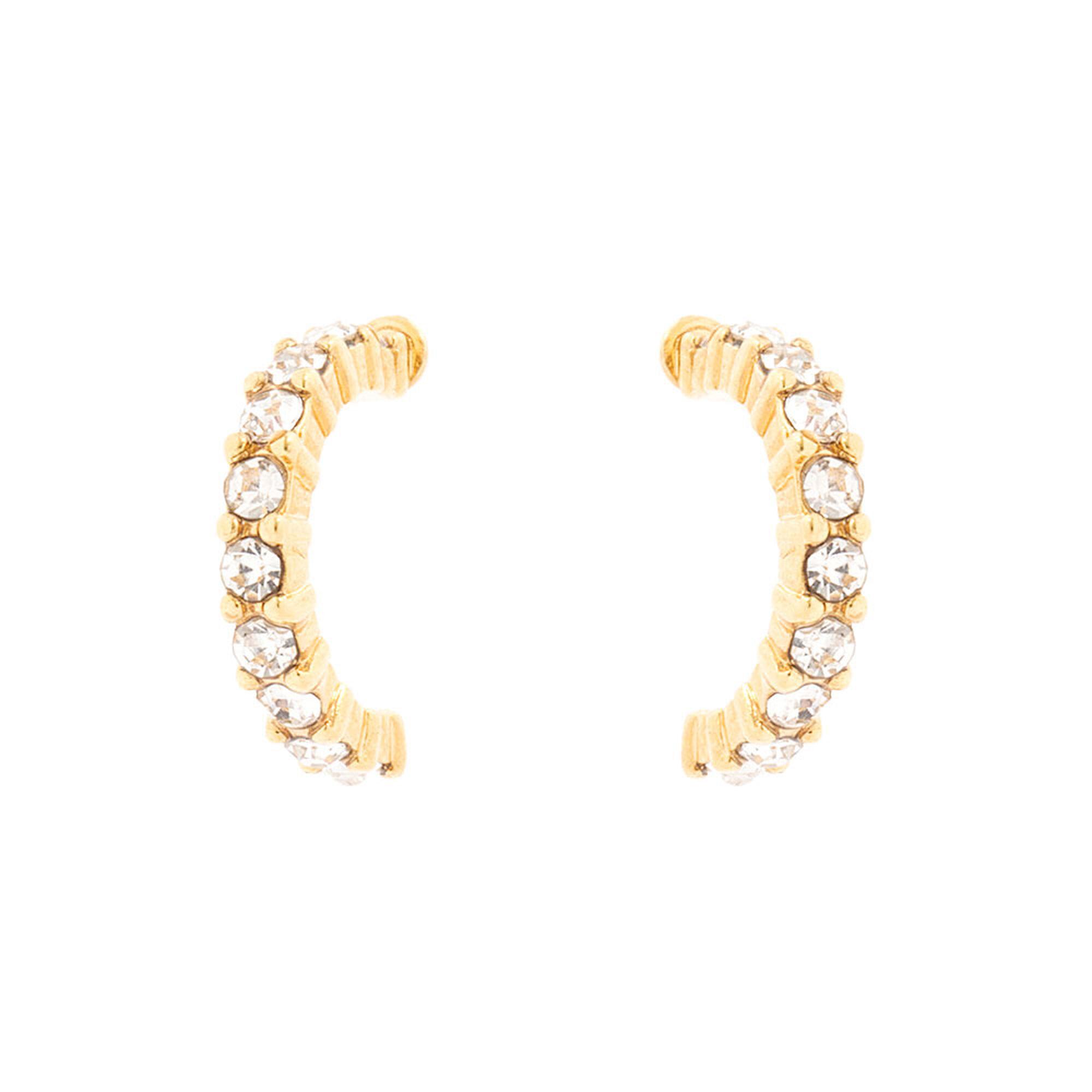 18kt Gold Plated Gl Stone Half Hoop Earrings