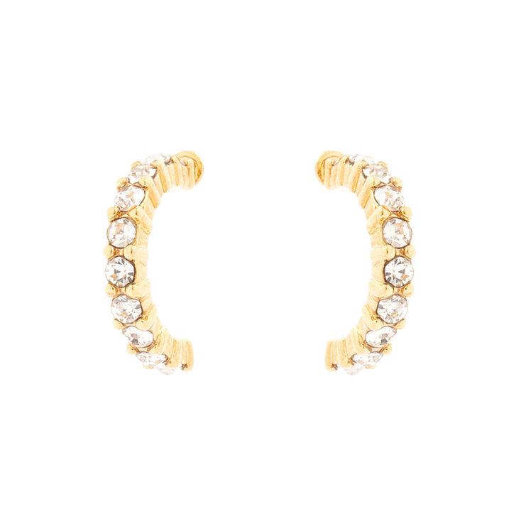 18kt Gold Plated Glass Stone Half Hoop Earrings,
