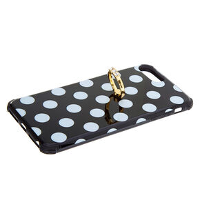 Black Polka Dot Ring Holder Phone Case - Fits iPhone 6/7/8 Plus,
