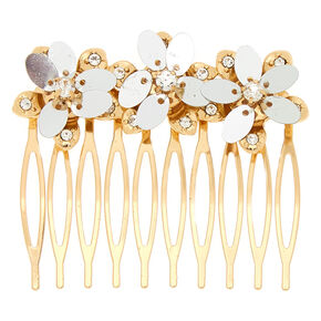 Gold Sequin Flower Hair Comb,