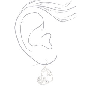 "Silver 1"" Sandblast Heart Earth Drop Earrings,"