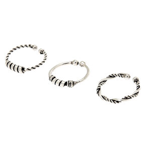 Sterling Silver Baili Braided Faux Hoop Nose Rings - 3 Pack,