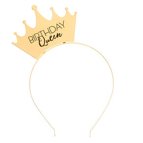 Birthday Queen Crown Headband - Gold,