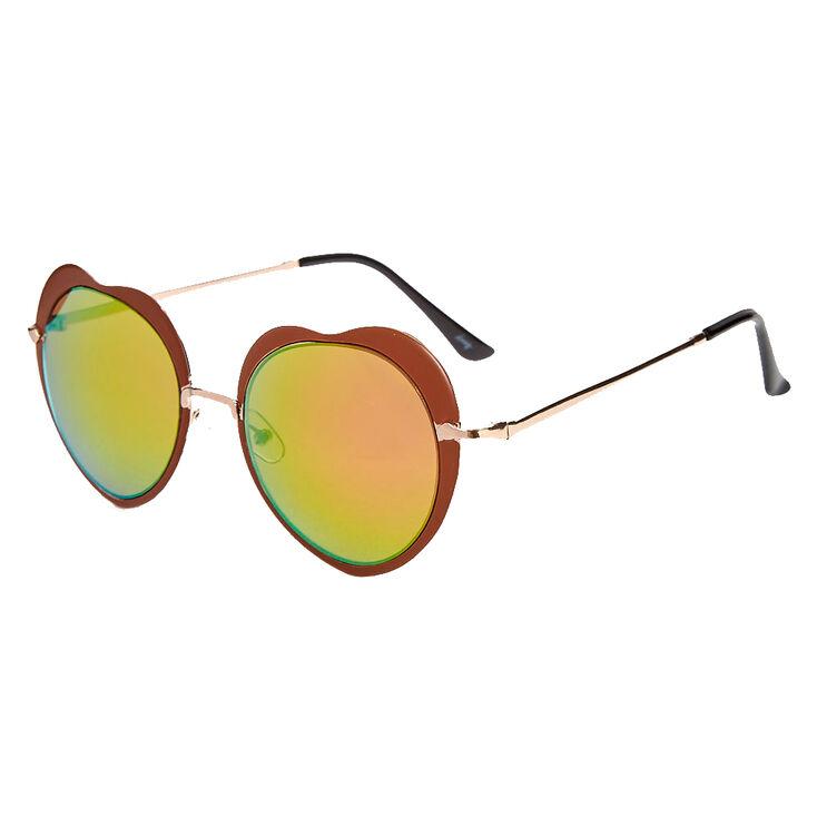 Bronze Heart Sunglasses with Round Lenses,