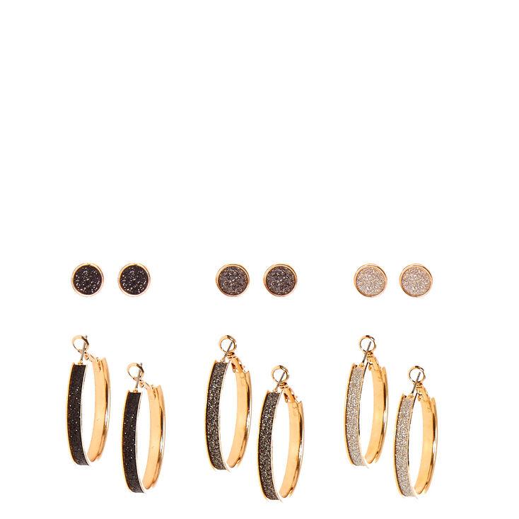 Gold Tone & Glitter Stud & Hoop Earrings,