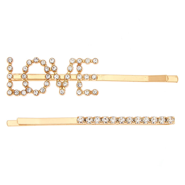 Gold Love Crystal Hair Pins - 2 Pack,
