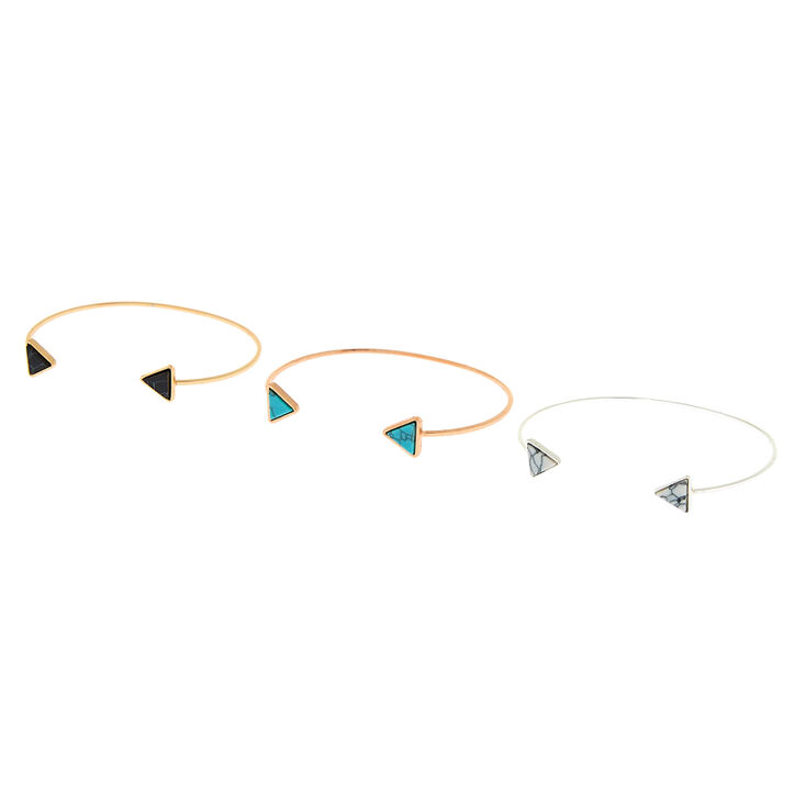 Gold Marble Triangle Cuff Bracelets - 3 Pack,