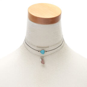 Druzy Stone Choker Necklaces - 3 Pack,