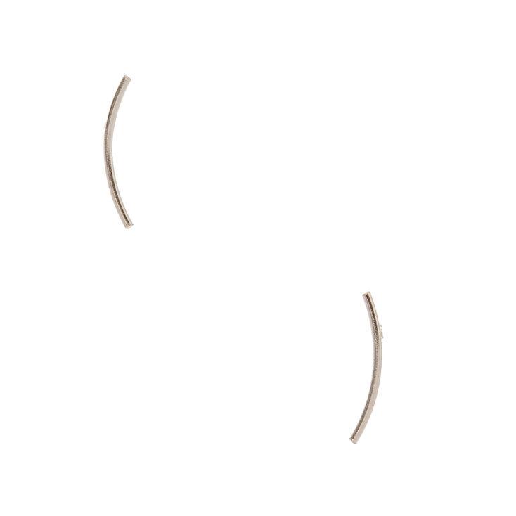 Sterling Silver Curved Bar Stud Earrings,