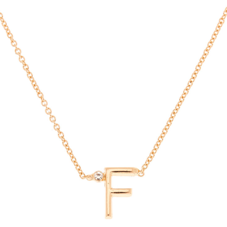 Gold Initial Necklace - F,