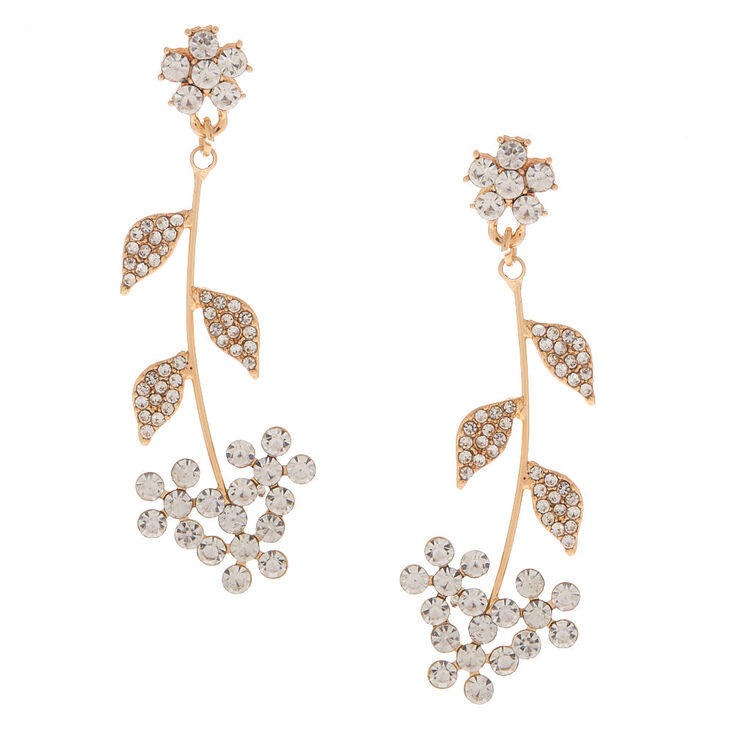"Rose Gold Rhinestone 2"" Daisy Drop Earrings,"