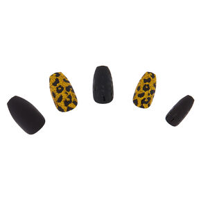 Glitter & Matte Leopard Faux Nail Set - Gold, 24 Pack,