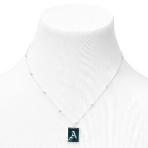Silver Initial Rectangle Mood Pendant Necklace - A,