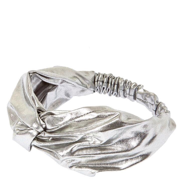 Silver Metallic Turban Headwrap,
