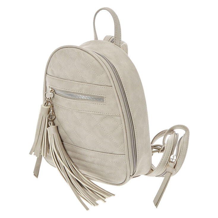 Quilted Faux Leather Small Backpack - Gray,