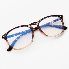 Blush Pink Tortoiseshell Rectangle Clear Lens Frames,