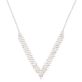 Silver Rhinestone Chevron Statement Necklace,