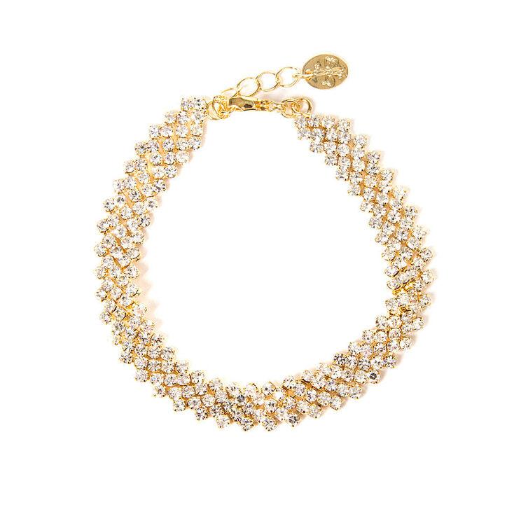 Gold & Rhinestone Zig Zag Bar Bracelet   Icing US