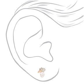 Silver Crystal Cluster Stud Earrings,