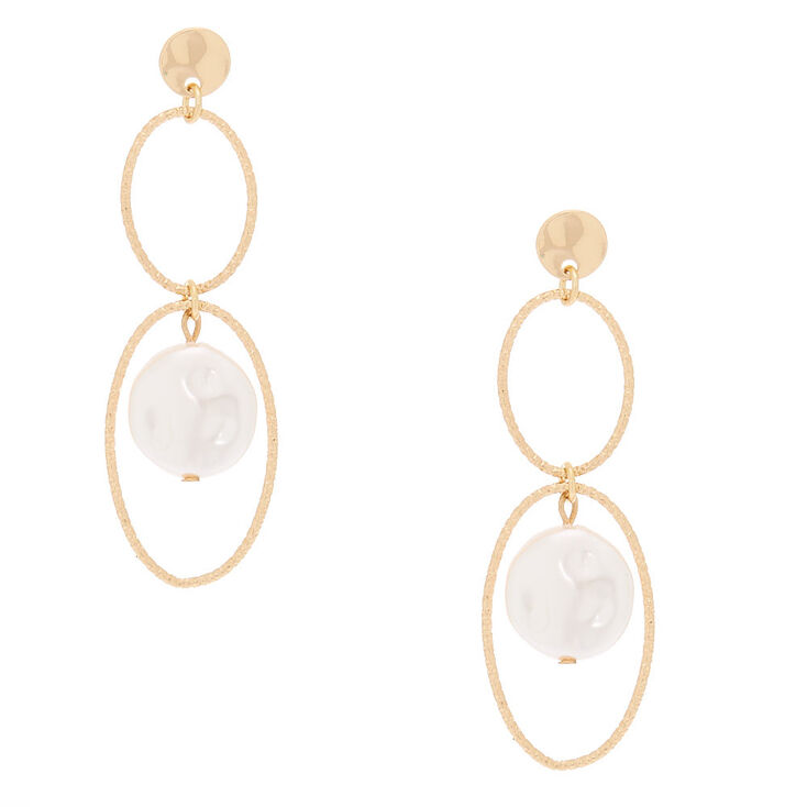 """Gold Pearl 2.5"""" Loop Drop Earrings,"""