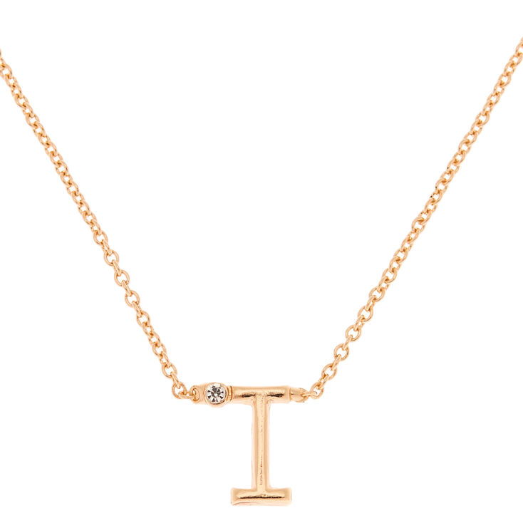 Gold Stone Initial Pendant Necklace - I,