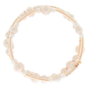 Rose Gold Pearl Orbit Wrap Statement Bracelet,