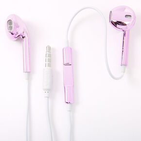 Metallic Earbuds with Mic - Purple,