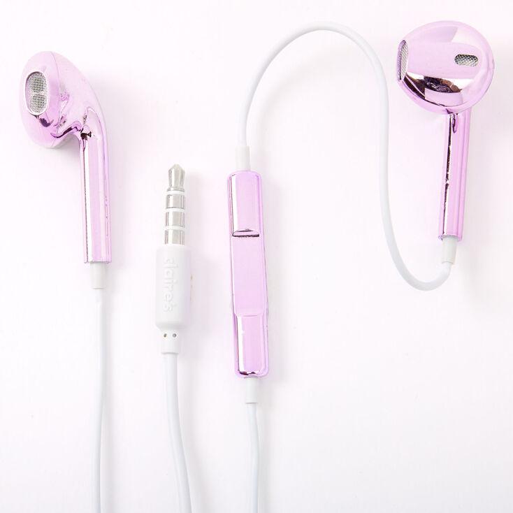 Metallic Earbuds with Mic - Purple,
