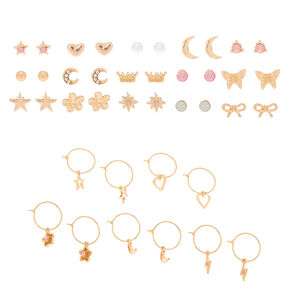Gold Studs & Charm Hoop Earrings - 20 Pack,