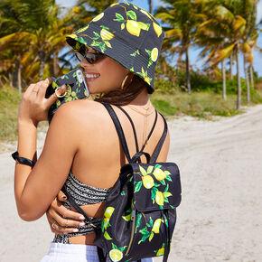 Lemon Drawstring Midi Backpack - Black,