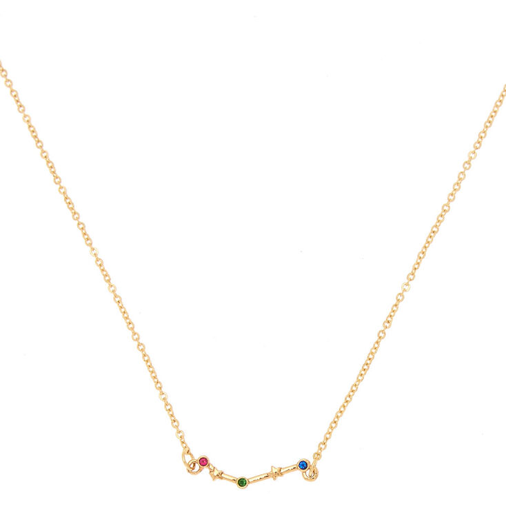 Gold Zodiac Constellation Pendant Necklace - Aries,