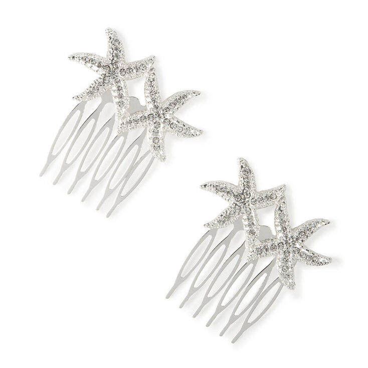 Silver Cubic Zirconia Starfish Hair Combs - 2 Pack,