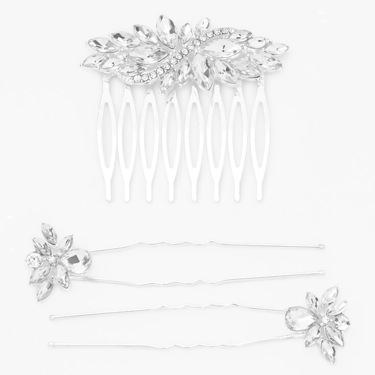 Silver Rhinestone Hair Comb and Hair Pin Set - 3 Pack,