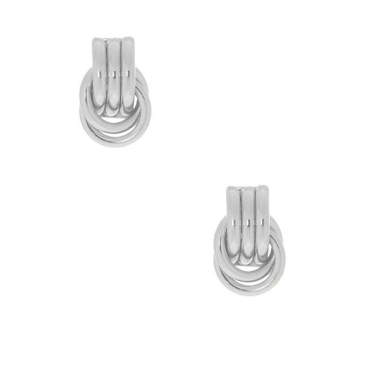 """Silver 1"""" Chain Link Drop Earrings,"""