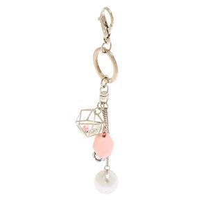 Silver Geometric Pearl Keychain,