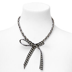 Black & White Gingham Bow Tie Chain Necklace,