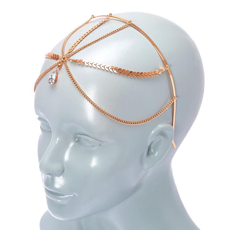 Rose Gold Teardrop Crystal Headband,