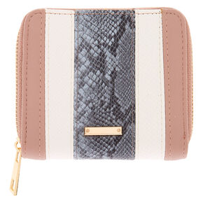 Striped Snake Skin Mini Zip Wallet,