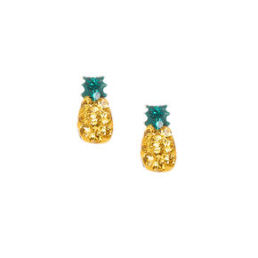 Sterling Silver Crystal Pineapple Stud Earrings,