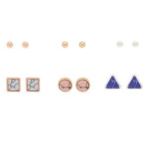 Mixed Metal Marble Stud Earrings - 6 Pack,