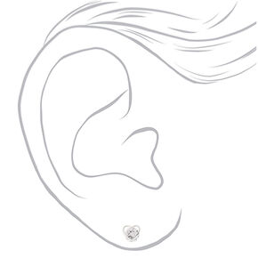 Silver Cubic Zirconia Heart Clip On Stud Earrings - 8MM,