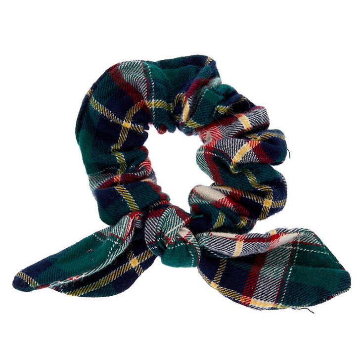 Green Plaid Knotted Bow Hair Scrunchie,