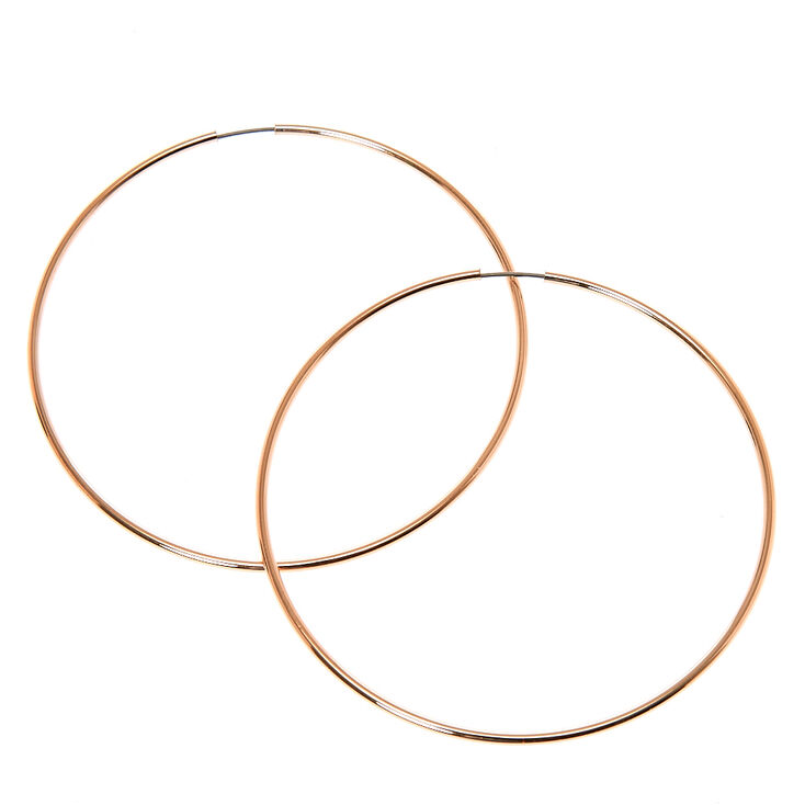 60MM Thin Rose Gold Tone Hoop Earrings,