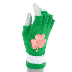 Fingerless Shamrock Gloves - Green,