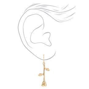 """Gold 1.5"""" Rose Flower Drop Earrings,"""