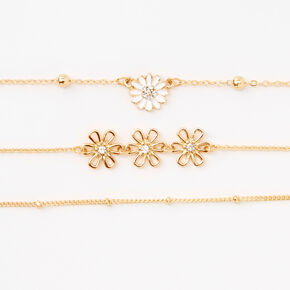 Gold Dainty Daisies Chain Bracelets - 3 Pack,